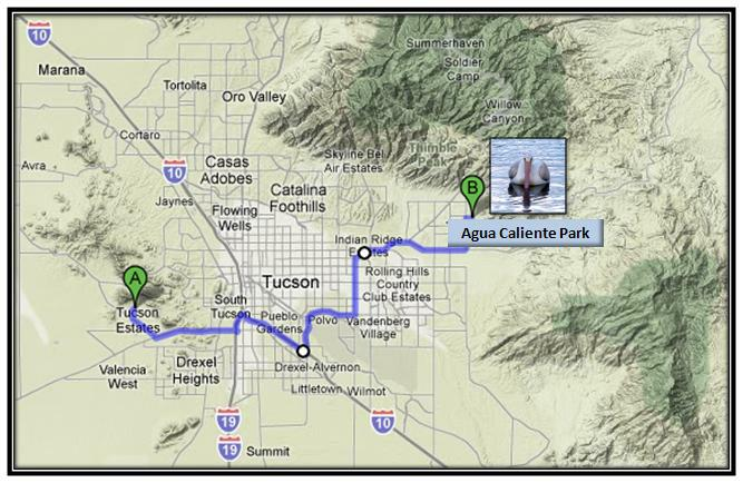 Map of this morning's drive to Agua Caliente Park in Tucson.