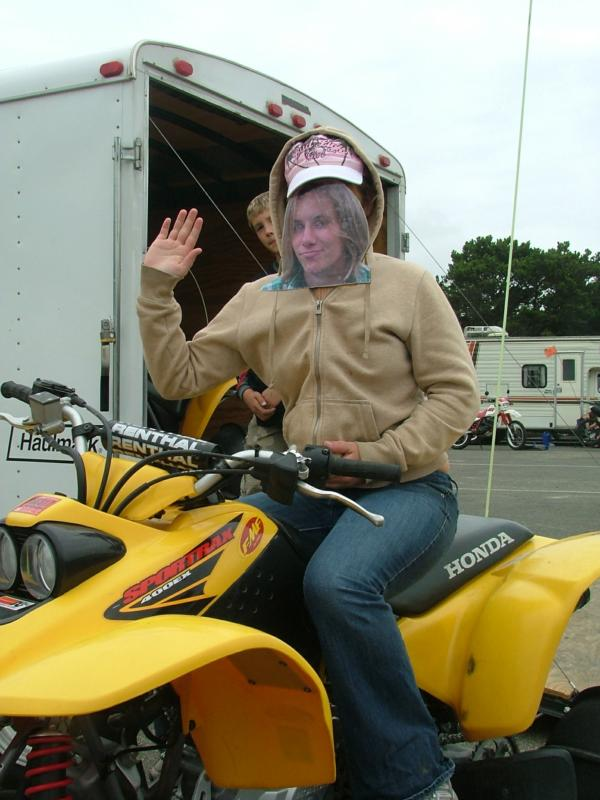 Christy on a stick, on a quad in florence Oregon