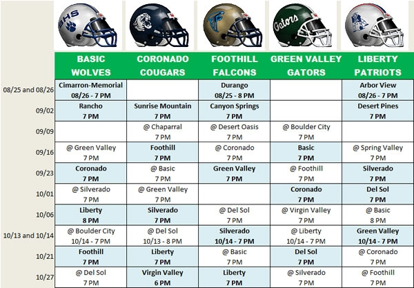 Henderson NV High School Football Schedules