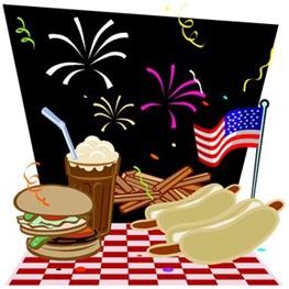 july 4, food, hot dogs, flag, fireworks