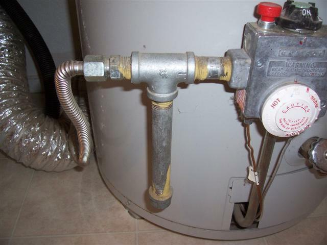 Dirt leg on gas line at the water heater
