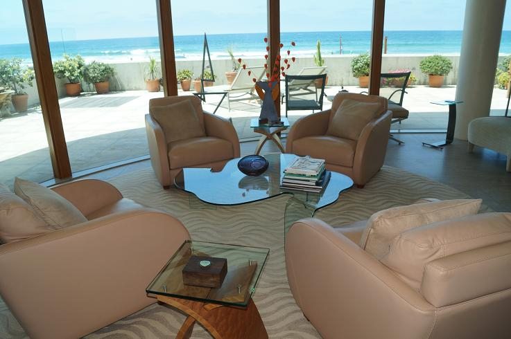 Living room interior in luxury San Diego beach house