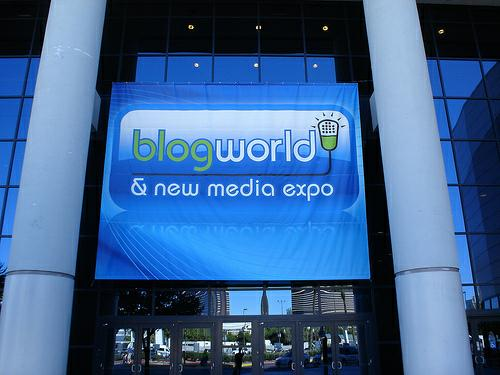 Blogworld and New Media Expo sign.