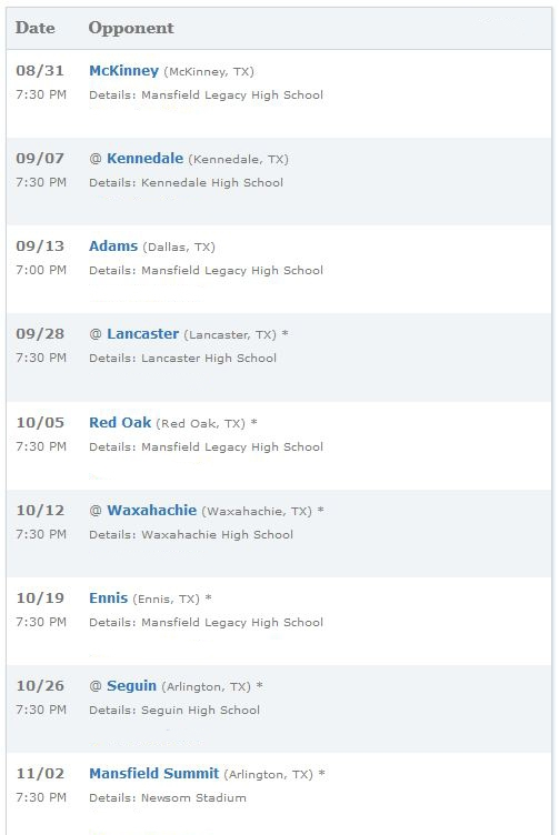 Mansfield Texas High School Football Schedule 2012-2013