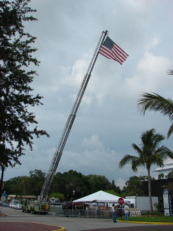 Firetruck with the American Flag