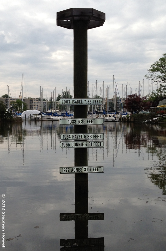 Historic Hurricane Highwater Marker In Annapolis Maryland