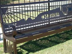 Stickball Park bench, depicting 1907-2007