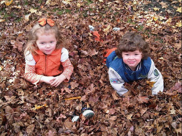 Raking some leaves with my niece and nephew