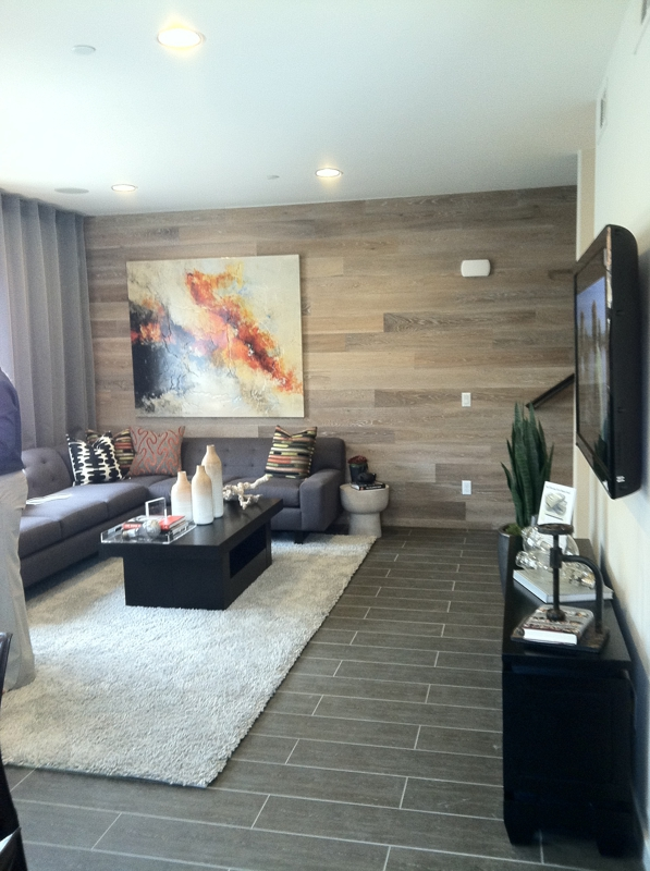 Living room of 36 on Echo model unit floor plan 9