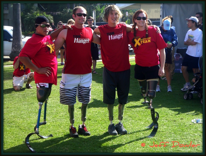 4 challenged athletes at the Challenged Athletes Triathlon in la jolla in 2008
