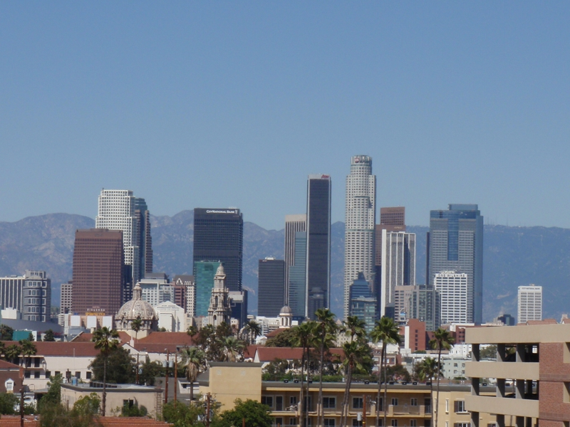 postcard view of Downtown Los Angeles
