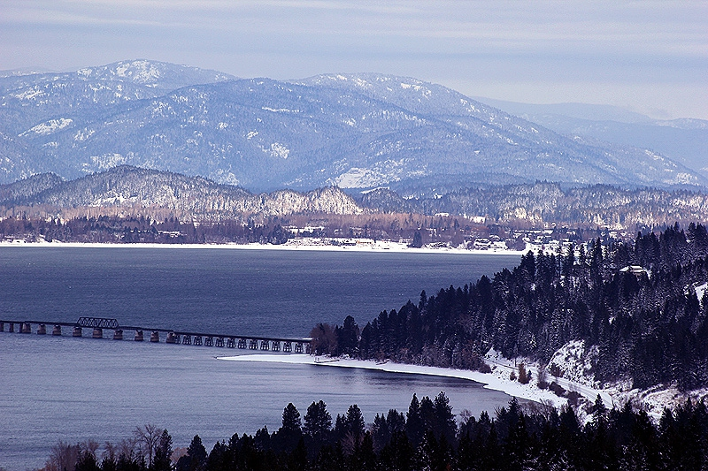 The railroad bridge crossing Lake Pend Oreille into Sandpoint, Idaho