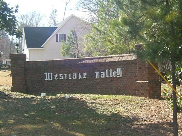 One of the entrances to Westlake Valley in Sanford, NC