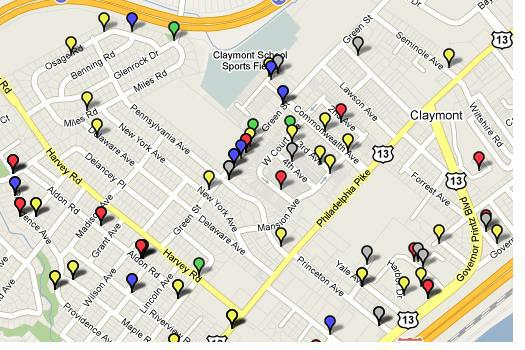 Claymont Delaware Home Alarm Crime Report Stats Map
