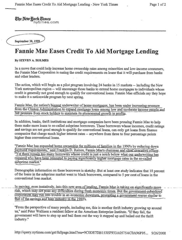 Fannie Mae Eases Credit