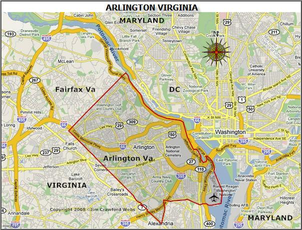 Map Of Arlington Va Arlington County Virginia Map | Arlington VA is a Great Place to