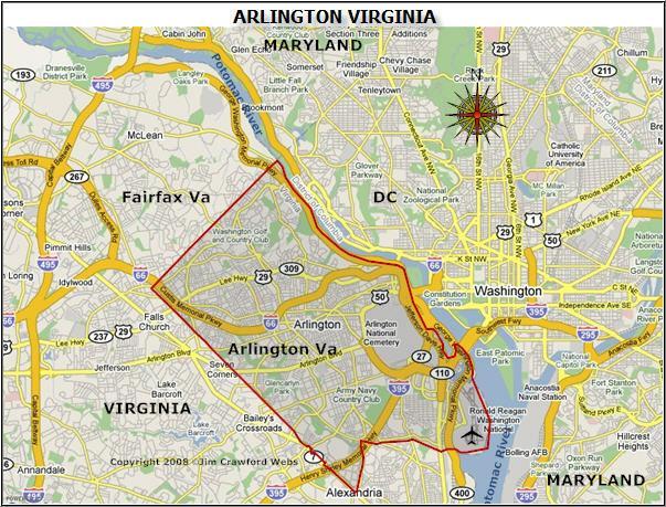 Arlington County Virginia Map Arlington Va Is A Great