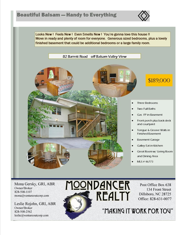 Barrett Road Listing Flyer copyright MoonDancer Realty