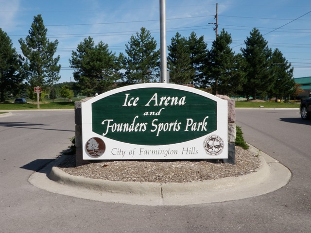Welcome sign at entrance of Founders Sports Park