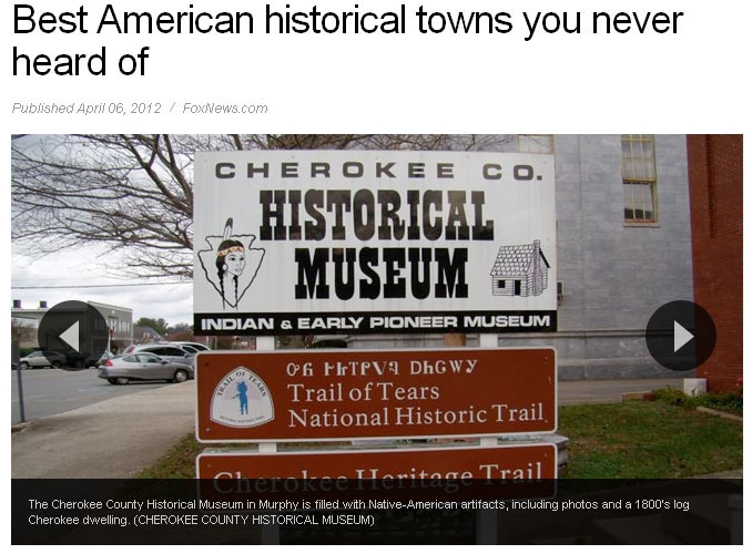 Murphy, NC makes the Best American Historical Towns you've never heard of list