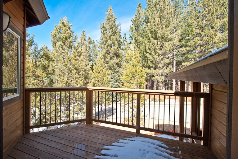 deck, pine tree, meadow, view