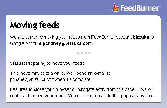 Feedburner transition screen shot 3