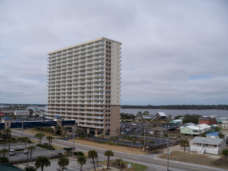 Beach Side View of Crystal Tower Condos in Gulf Shores
