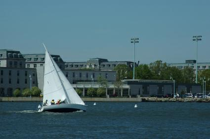 Sailing on the Severn, with USNA in the background