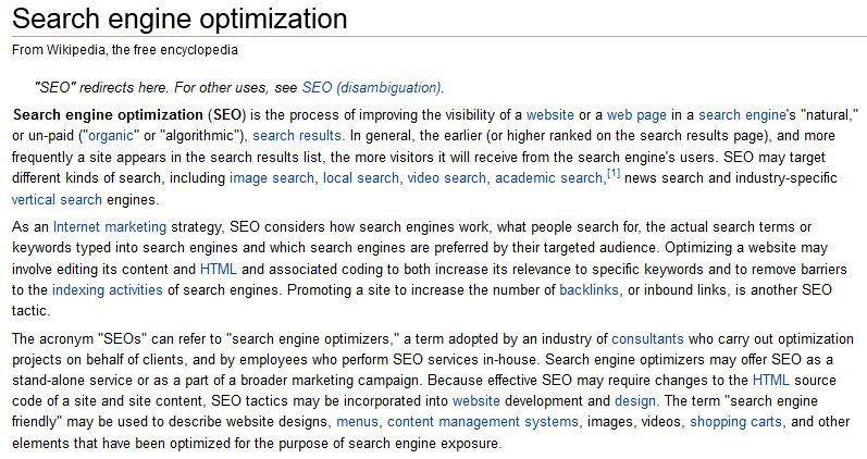 SEO from Wikipedia