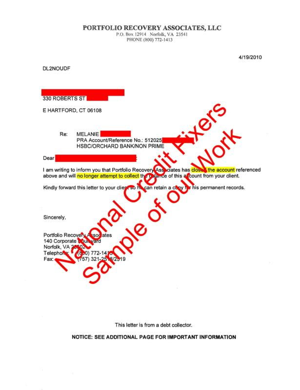 portfolio recovery collection deletion letter 1