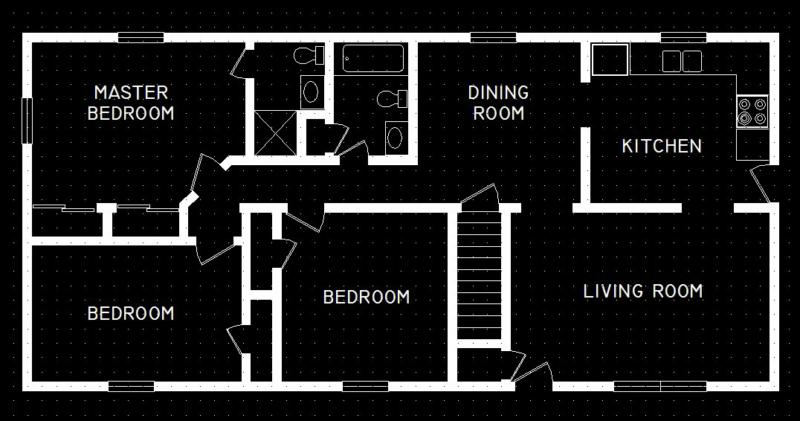Floor Plan of Ranch Syle home by Dan Cummings