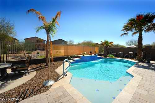 Premium view lot home for sale w heated pool in maricopa az for Heated pools for sale