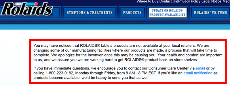 Rolaids will be back on Market Soon