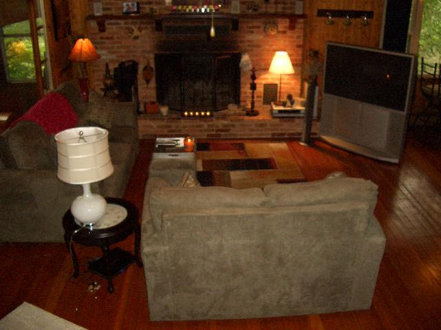 View of Familyroom & Brick Fireplace
