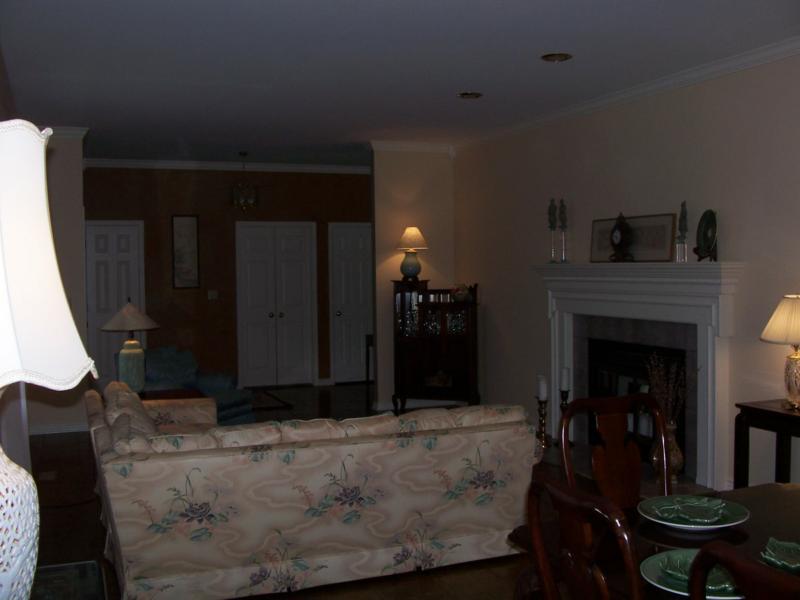 Great Room, parquet flooring, fireplace, sunlight