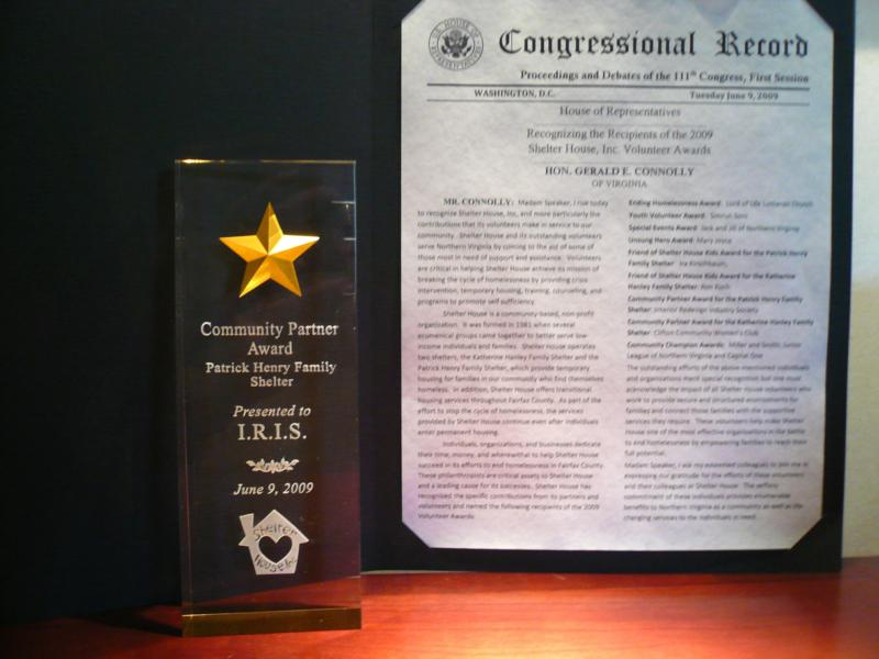 Community Partner Award and Congressional Record