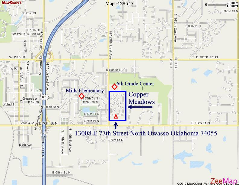 Map of 13008 E 77th Street North in Owasso Oklahoma 74055