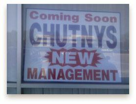 sign in the window of Chutnys