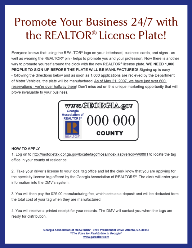 Georgia Realtor License Plate Tags Order Yours Today