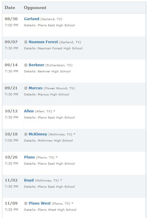 Plano Texas East High School Panthers Football SChedule 2012-2013