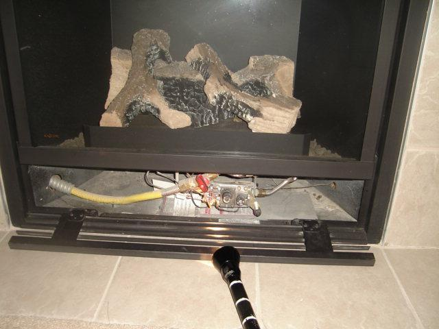 Air Infiltration At Gas Supply Line Of Prefab Fireplace Insert
