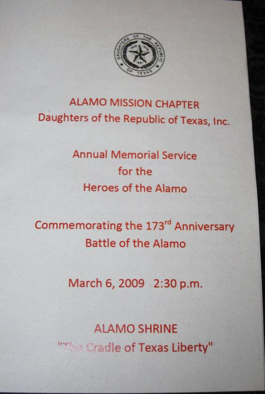 Annual Memorial Service for the Heroes of the Alamo