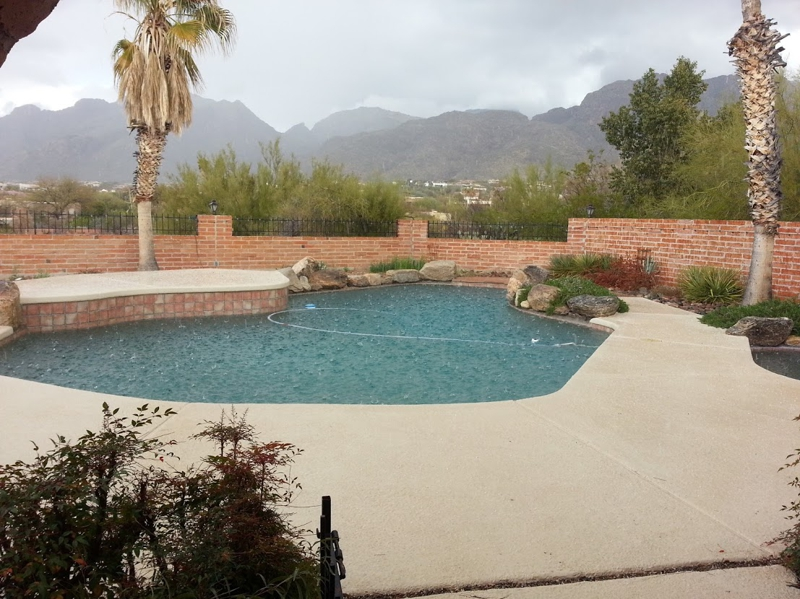 Hail over the pool view Tucson Foothills