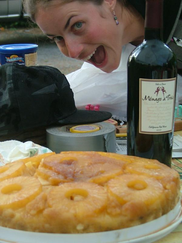 Pineapple upside down cake from a dutch oven