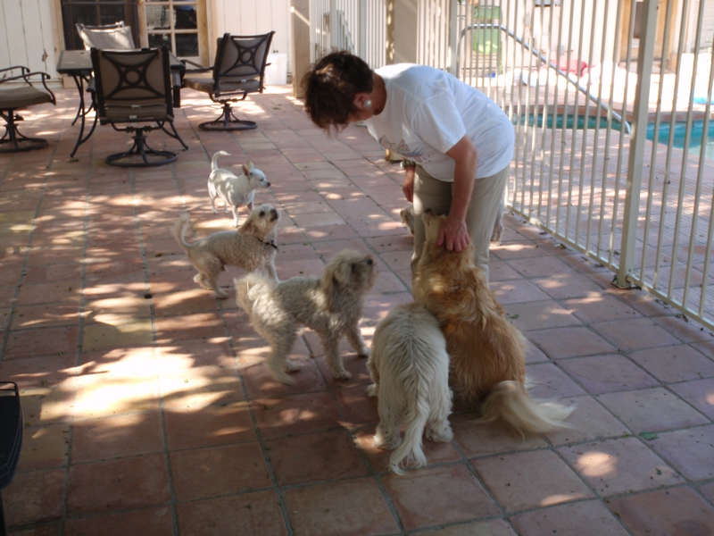 Diane DeJoie with the some of the residents