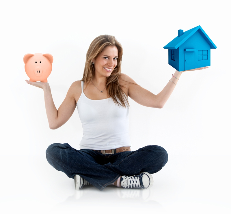 lady holding cartoon house on one hand, bag of money in the other