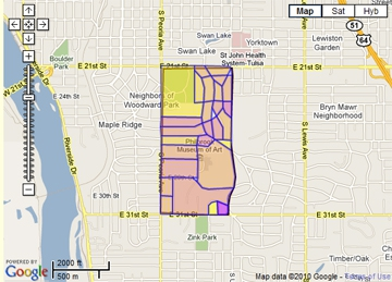 Map of Terwilliger Heights, midtown Tulsa