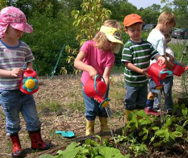 children gardening in Dover NH