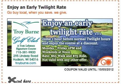 troy burne discount golf coupon