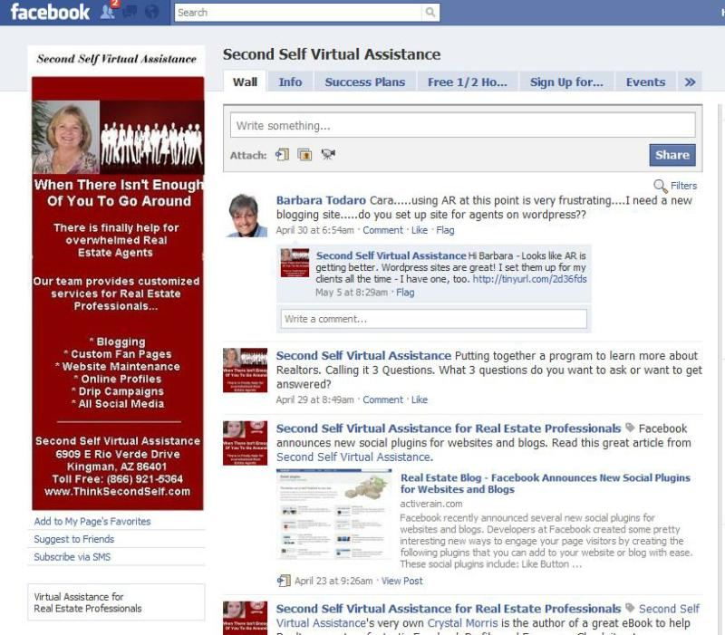 Second Self Virtual Assistance's Facebook fan page - real estate virtual assistance